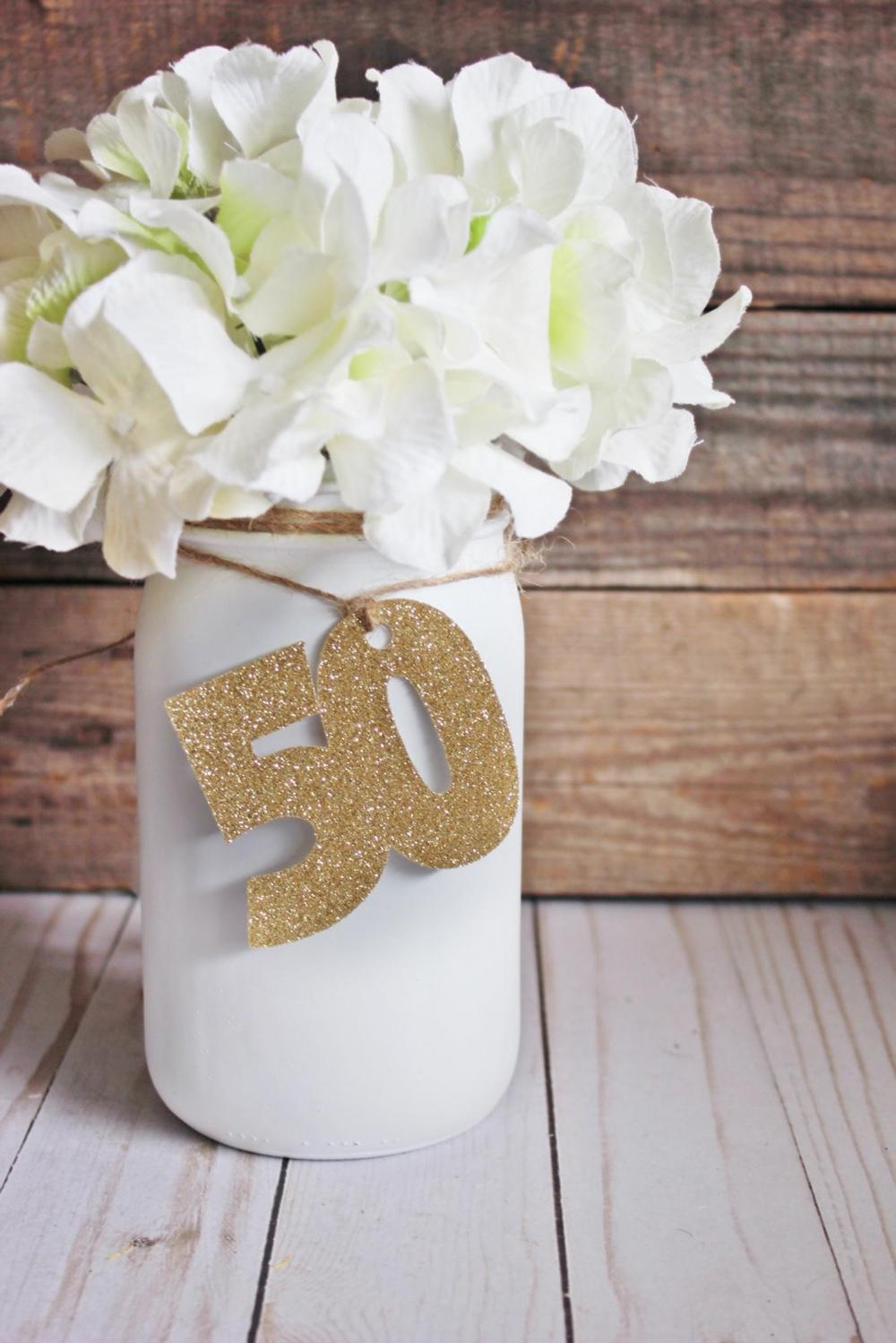 50th Birthday Decorations / Rustic 50th Mason Jar