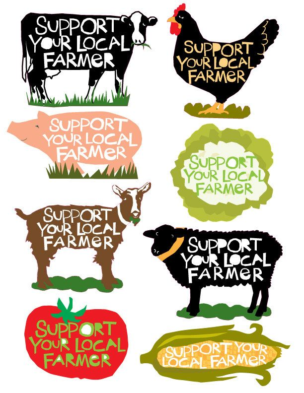 Support your local farmer bumper sticker collection 8 different designs