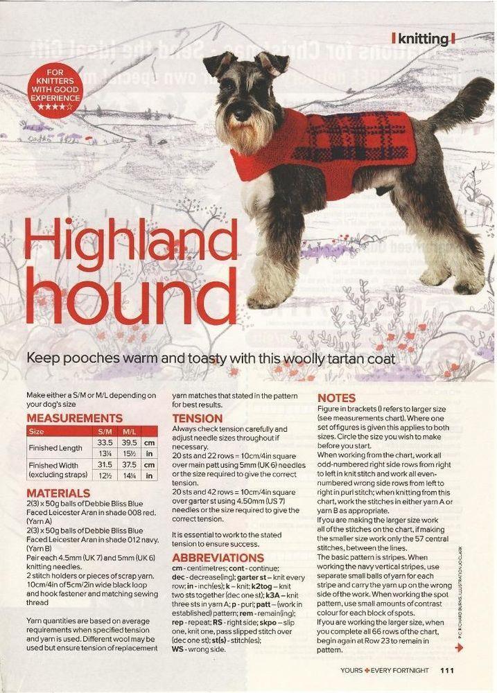 Tartan Dog Coat Knitting Pattern Highland Hound From Yours