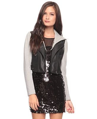 Contrast Leatherette Jacket w/ Hood - StyleSays