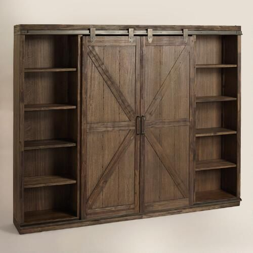 Wood Farmhouse Barn Door Bookcase Barn Door Bookcase Home Decor Furniture
