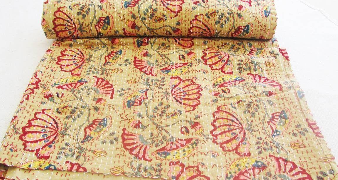 Indian kantha handmade quilt cotton reversible twin size bedspread blanket gudri