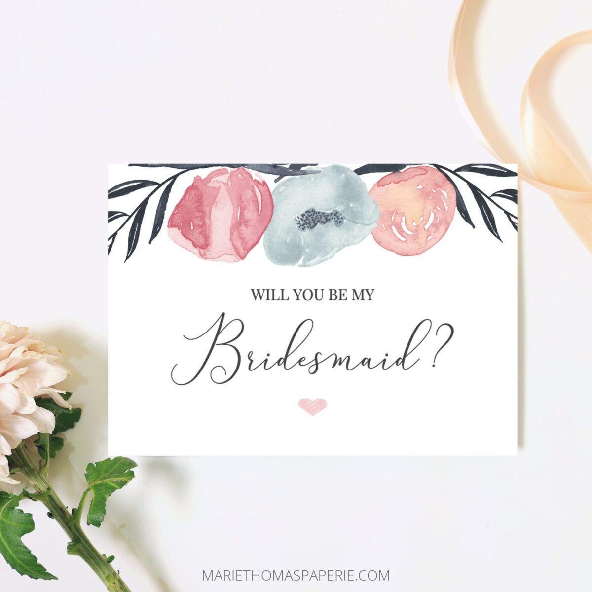 Will You Be My Bridesmaid Card Bridesmaid Proposal Card Pink Navy Floral Bridesmaid Card Maid O Bridesmaid Proposal Bridesmaid Proposal Cards Bridesmaid Cards