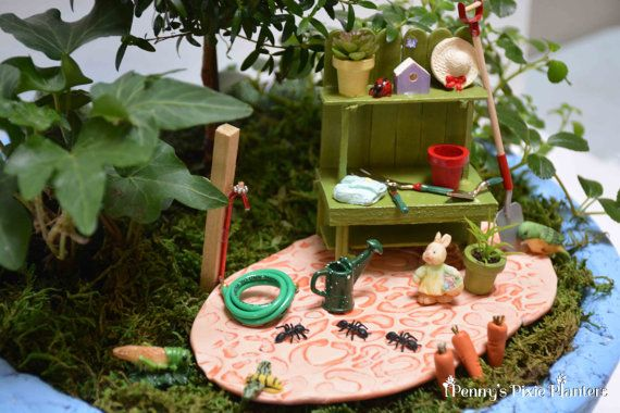 Miniature Potting Bench Set Fairy Garden by PennysPixiePlanters