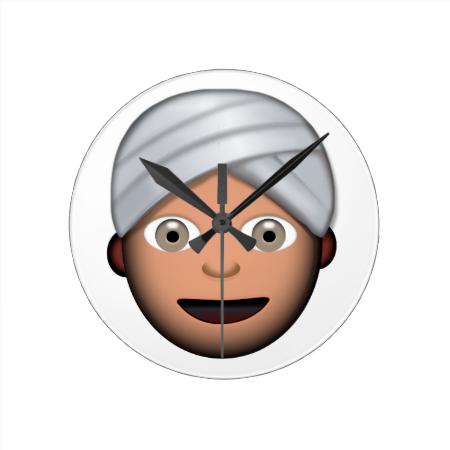 Man With Turban Emoji Round Wallclocks