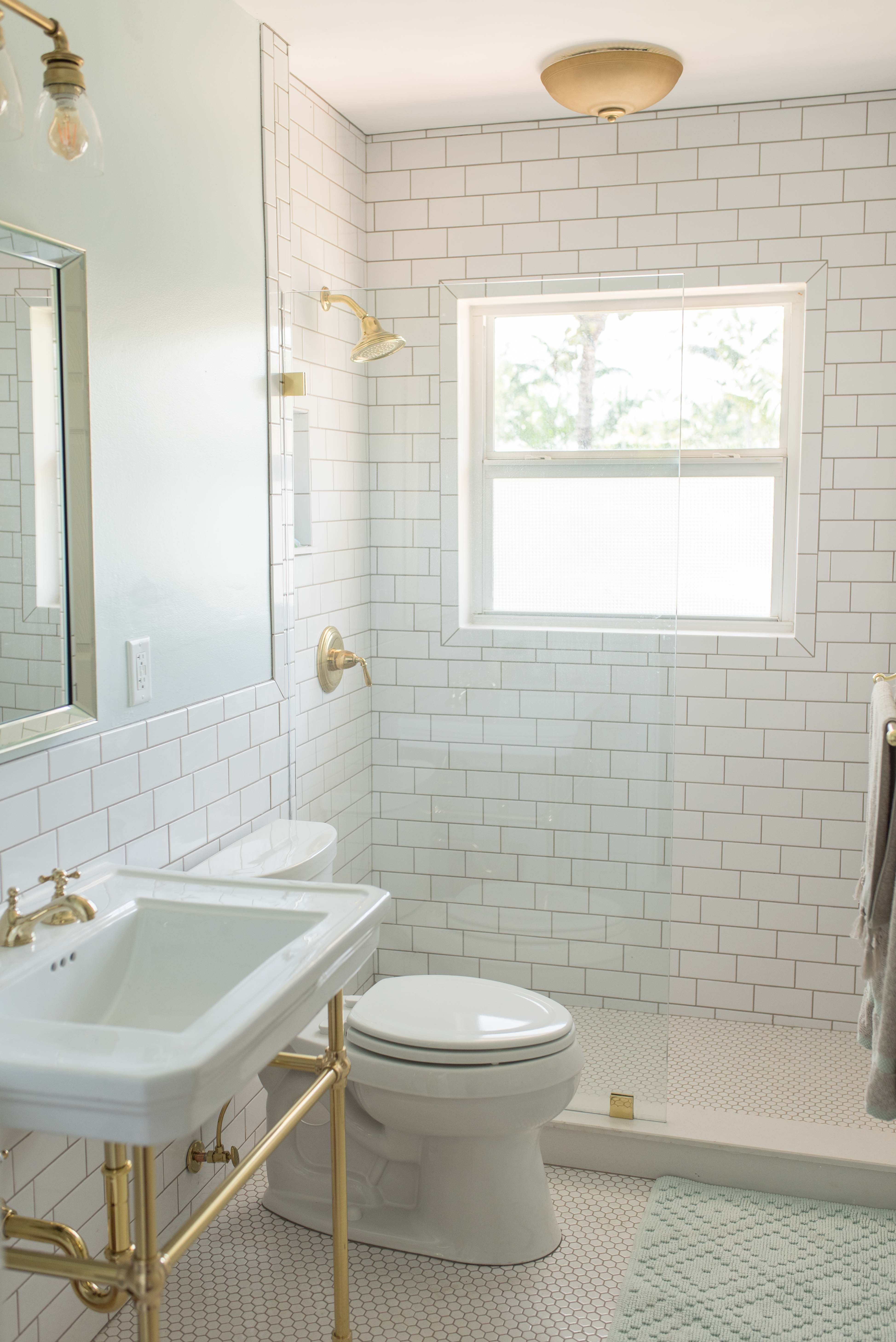 AFTER   Modern/Retro bathroom remodel with classic white subway, hex ...
