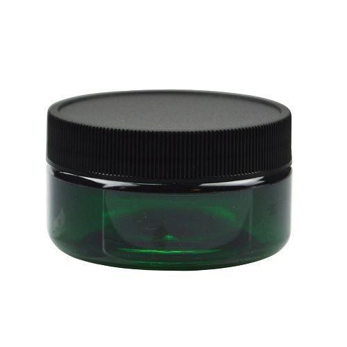 2 oz Green PET Plastic Straight Sided Jars (Black Screw Top Cap)