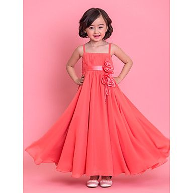 A-Line Tea Length Flower Girl Dress - Chiffon Sleeveless Spaghetti ...