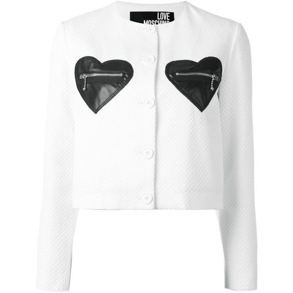 Love Moschino Heart Patch Boxy Jacket (£200) ❤ liked on Polyvore featuring outerwear, jackets, white, boxy jacket, love moschino jacket, box jacket, white jacket and love moschino