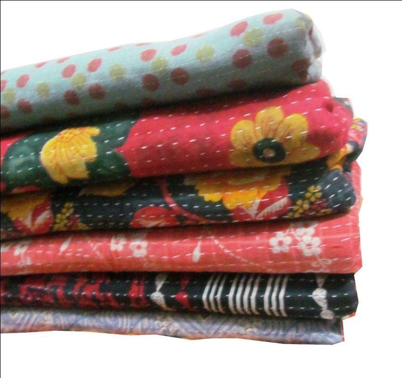 Kantha Quilt Handmade Indian Vintage Reversible Throw Blanket Bedspread 1 PC Lot