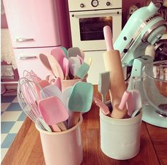 My Kitchen Has A Pastels Colour Scheme I Have Pale Blue Pink And Lilac Even Yellow Utensils Cooking Stuff