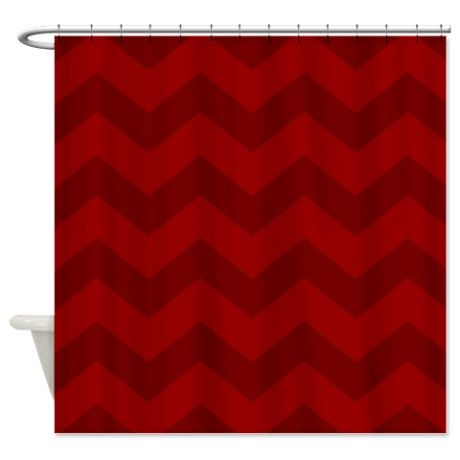 Scarlet Red Chevron Shower Curtain On CafePress.com
