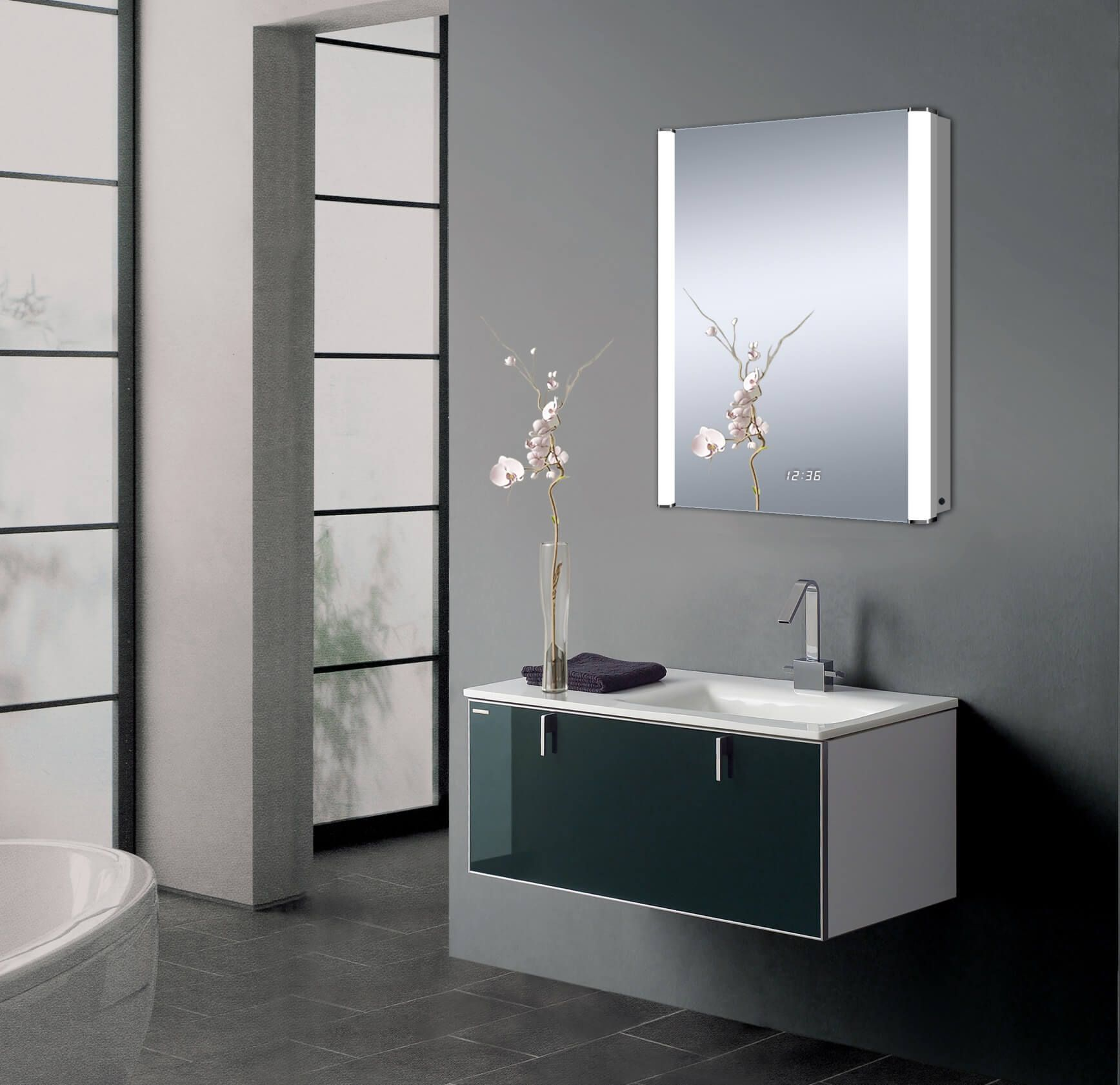 This Modern And Sleek Led Wall Mounted Medicine Cabinet Has A Ton Of Impressive Features Glass Shelves In Bathroom Glass Shelves Wall Mounted Medicine Cabinet