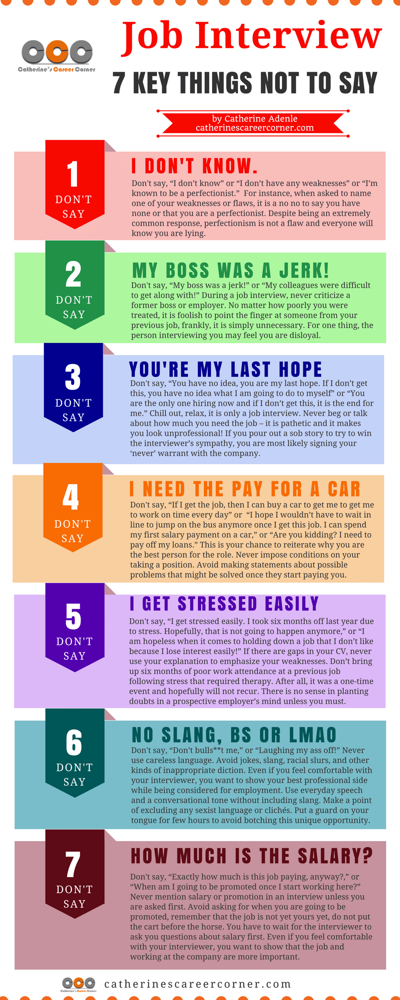 job interview 7 key things not to say_infographic - What Should You Take To A Job Interview What To Bring And What Not To Bring