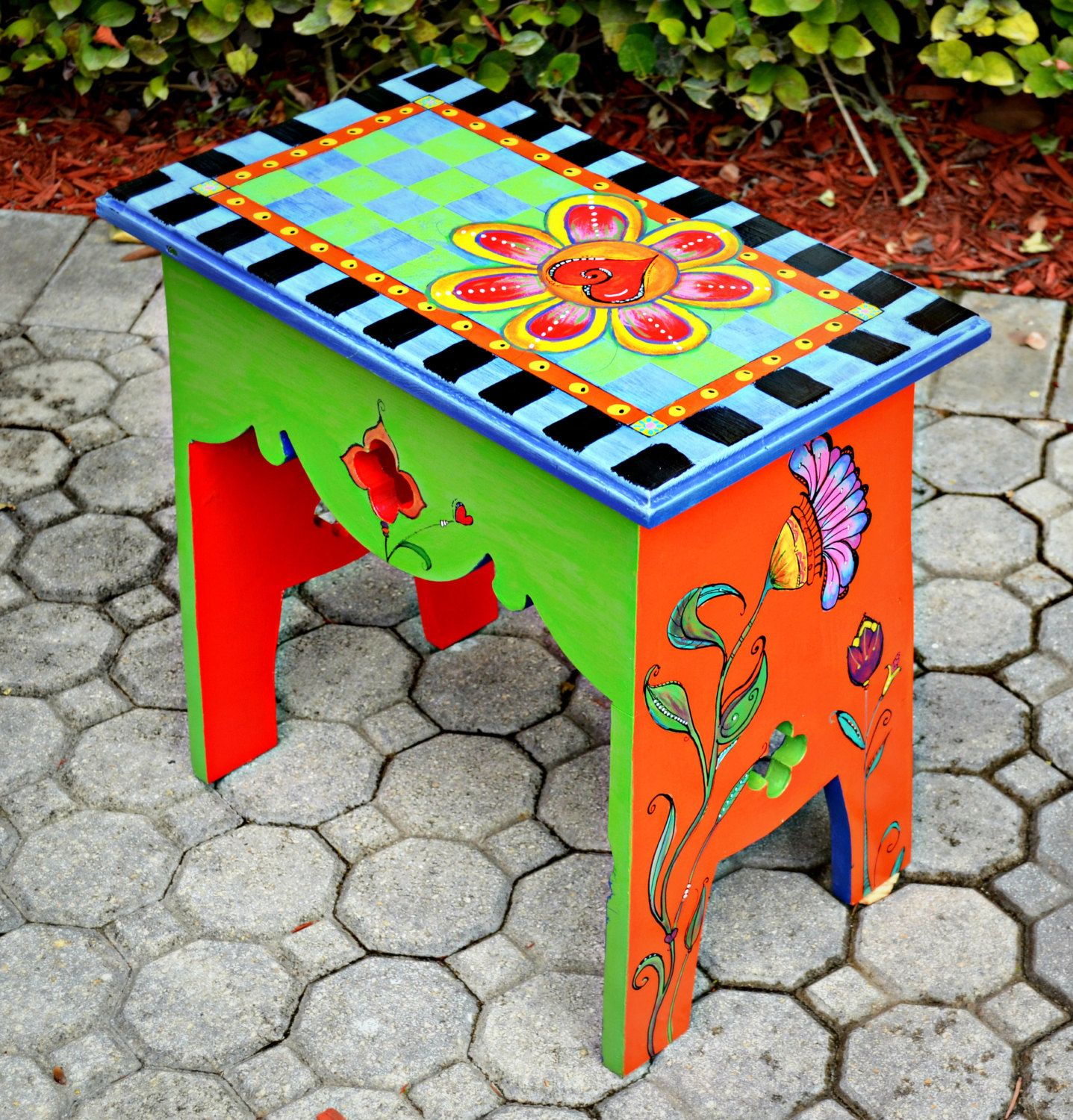 Funky Painted Bench Via Etsy Painted Furniture