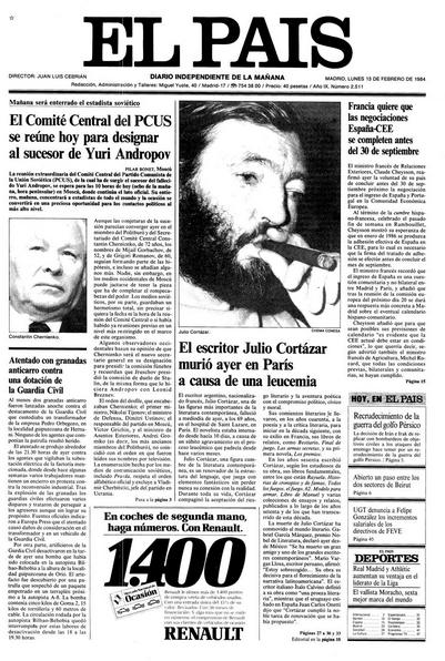Portada de El País 13/2/84