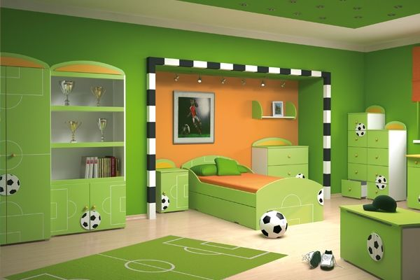jungenzimmer gr n orange fu ball spielplatz kinderzimmer pinterest room and interiors. Black Bedroom Furniture Sets. Home Design Ideas