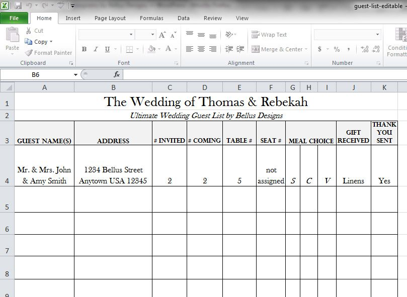 Printable Wedding Guest List – Address List Template