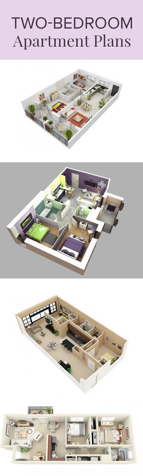 20 Interesting Two-Bedroom Apartment Plans furniture and work
