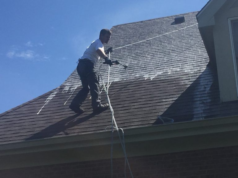 Roof And House Softwash A Modern House Washing Process That Guarantees Satisfaction Regarding Roof And House Cleaning With Images Roof Restoration Roof Cleaning Roofing