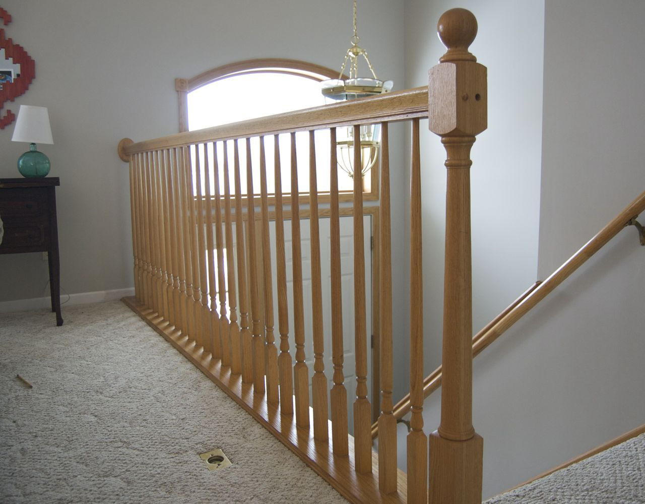 Beautiful Wooden Stair Rails | ... With Light Oak Wood Staircase Railing And Light Oak