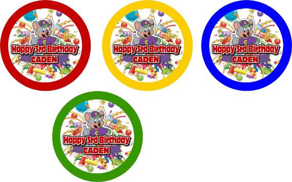 12 Chuck E Cheese Birthday Party Cupcake Toppers By
