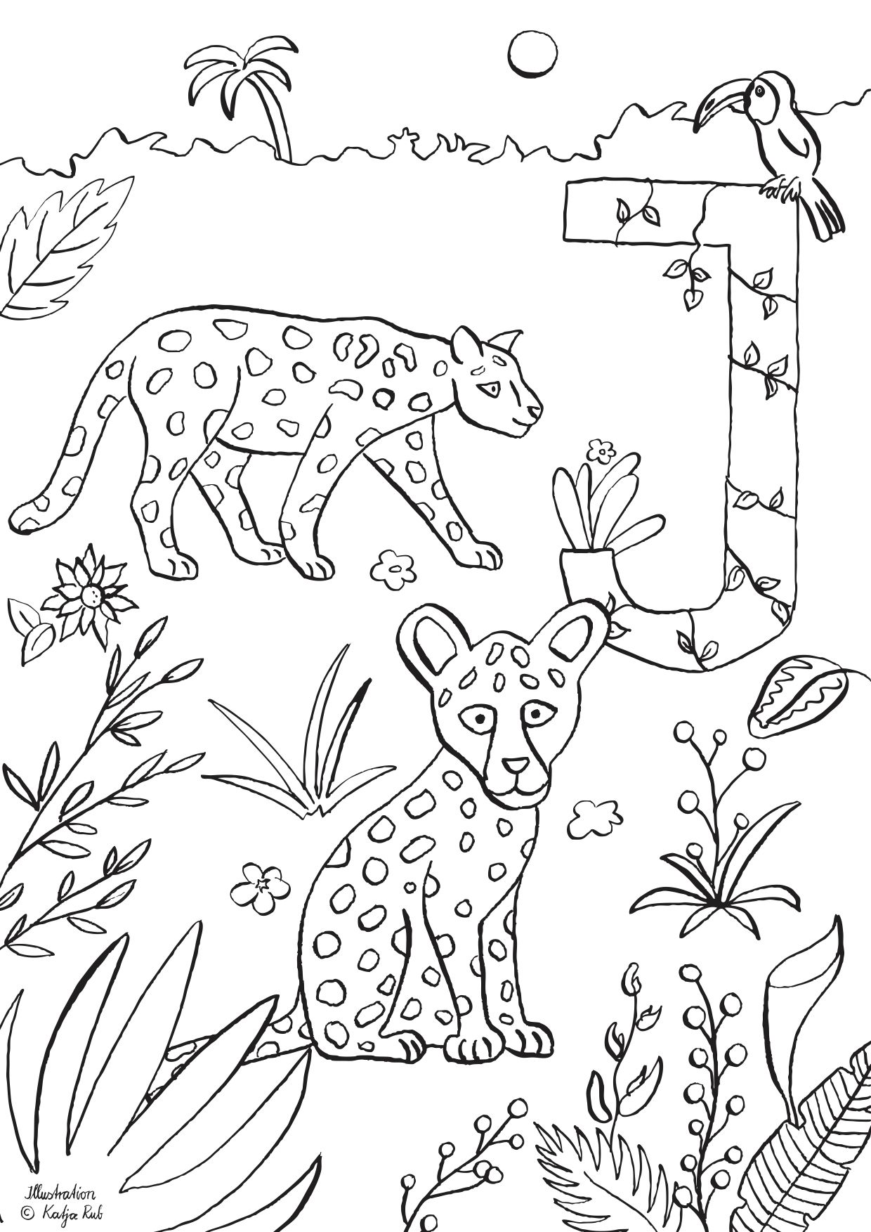 Ausmalbild J wie Jaguar von Katja Rub - Freubündel  Ausmalen