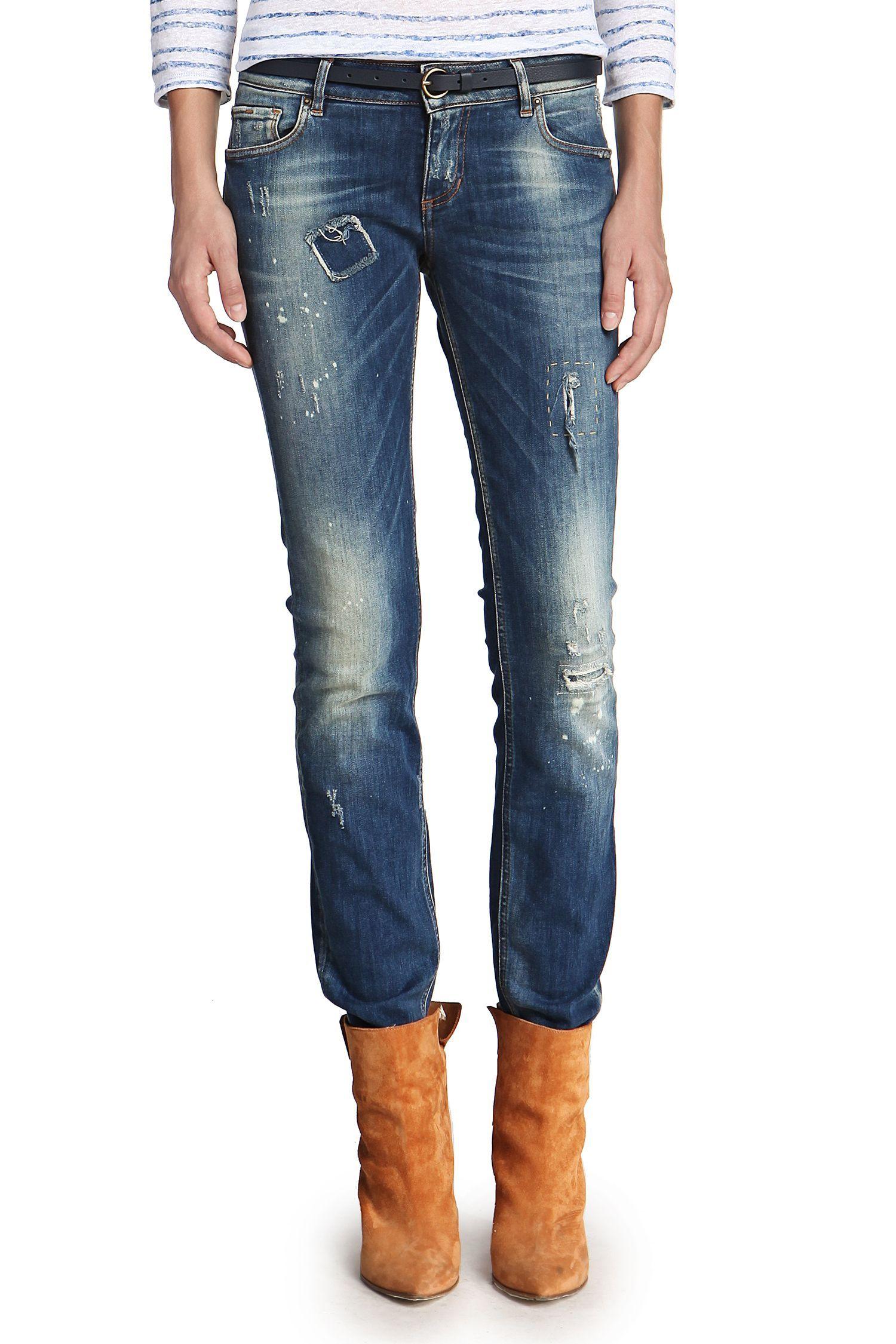 Jeans Femme Hugo Boss, achat Jeans Slim Fit Orange J20 en coton mélangé  extensible prix