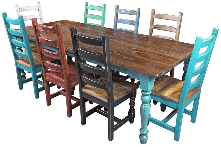 Multi Color Mexican Colonial Painted Wood Dining Set 9 Piece Mexican Dining Room Painted Dining Chairs Rustic Dining Chairs