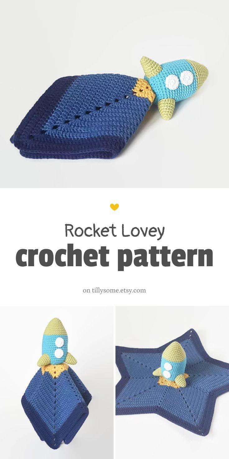 Rocket Lovey Pattern | Security Blanket | Crochet Lovey | Baby Lovey Toy Pattern Crochet Blanket Toy