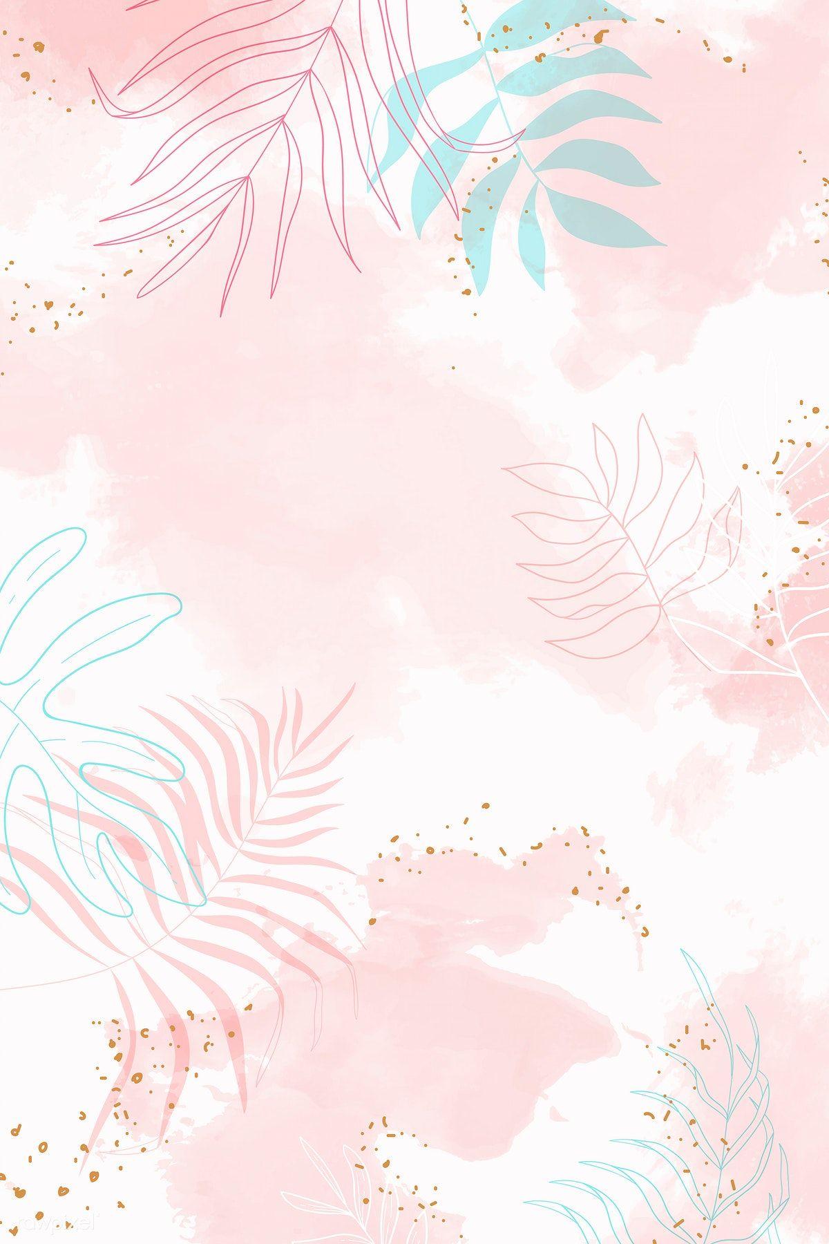 Download Premium Vector Of Pink Leafy Watercolor Background Vector 1222743 Wallpaper Pastel Seni Abstrak Foto Abstrak
