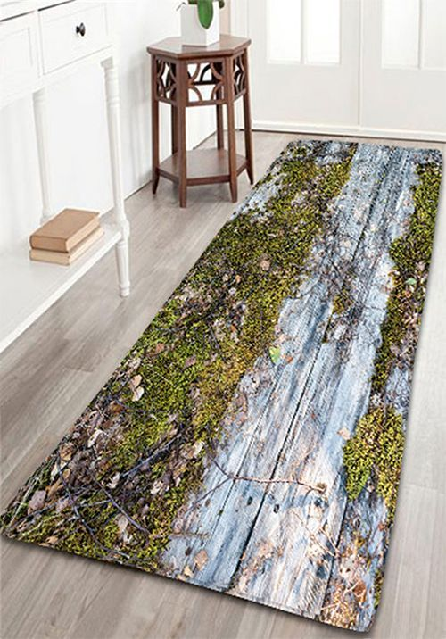 Vintage Wood Grain Print Flannel Bathroom Rug | Decorative items ...