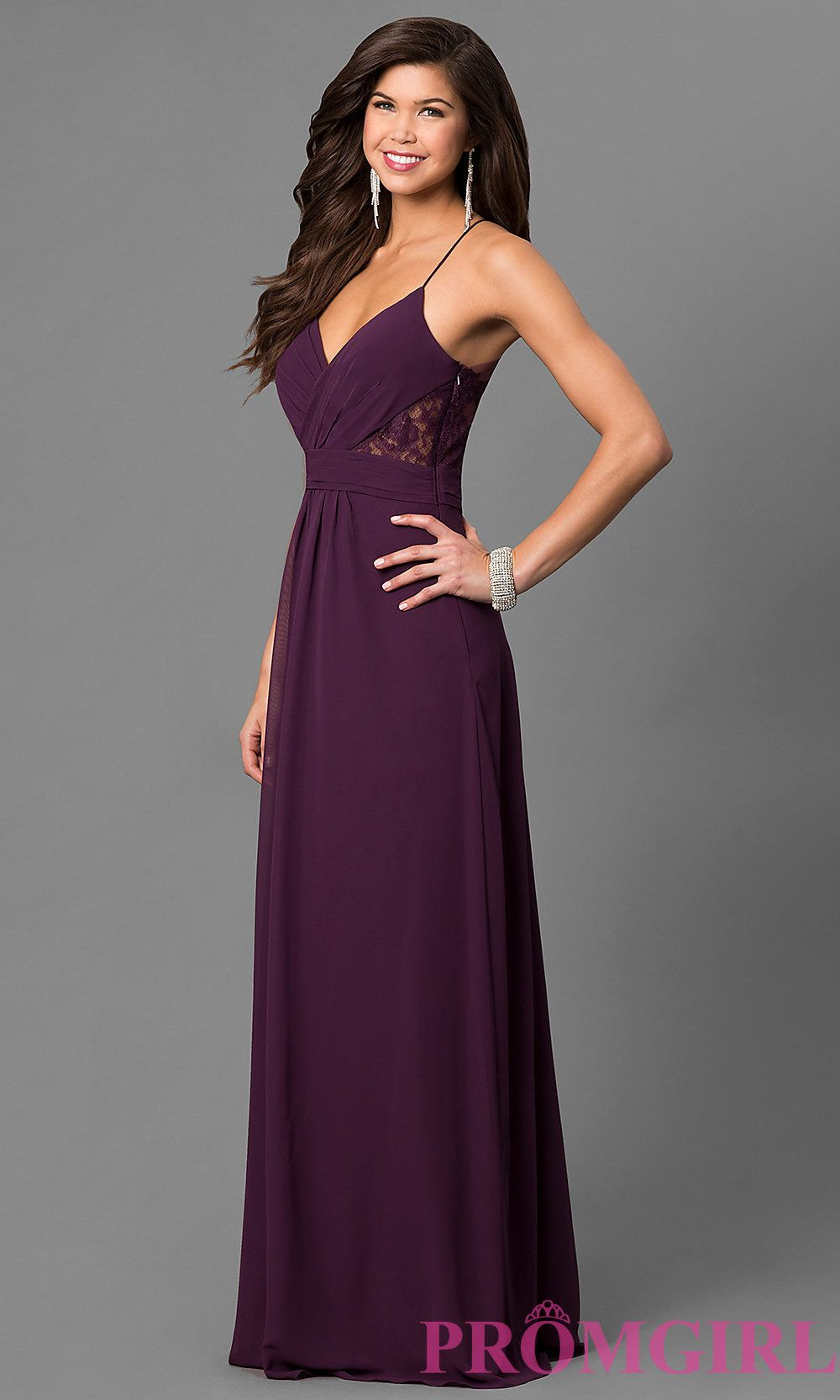 Image of long eggplant purple prom dress with lace back style bj
