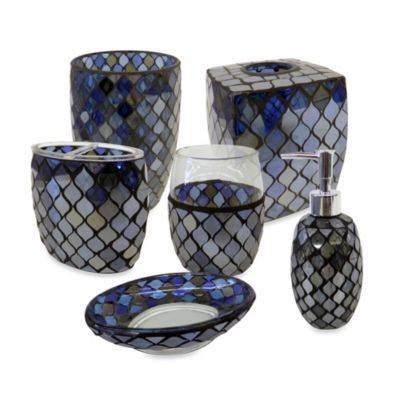 Azure Mosaic Glass Bathroom Accessories Master bath Pinterest