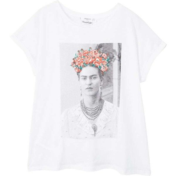 f068f036 Frida Kahlo T-Shirt (110 MYR) ❤ liked on Polyvore featuring tops, t-shirts,  mango t shirt, floral embroidered top, white t shirt, short sleeve t shirt  and ...