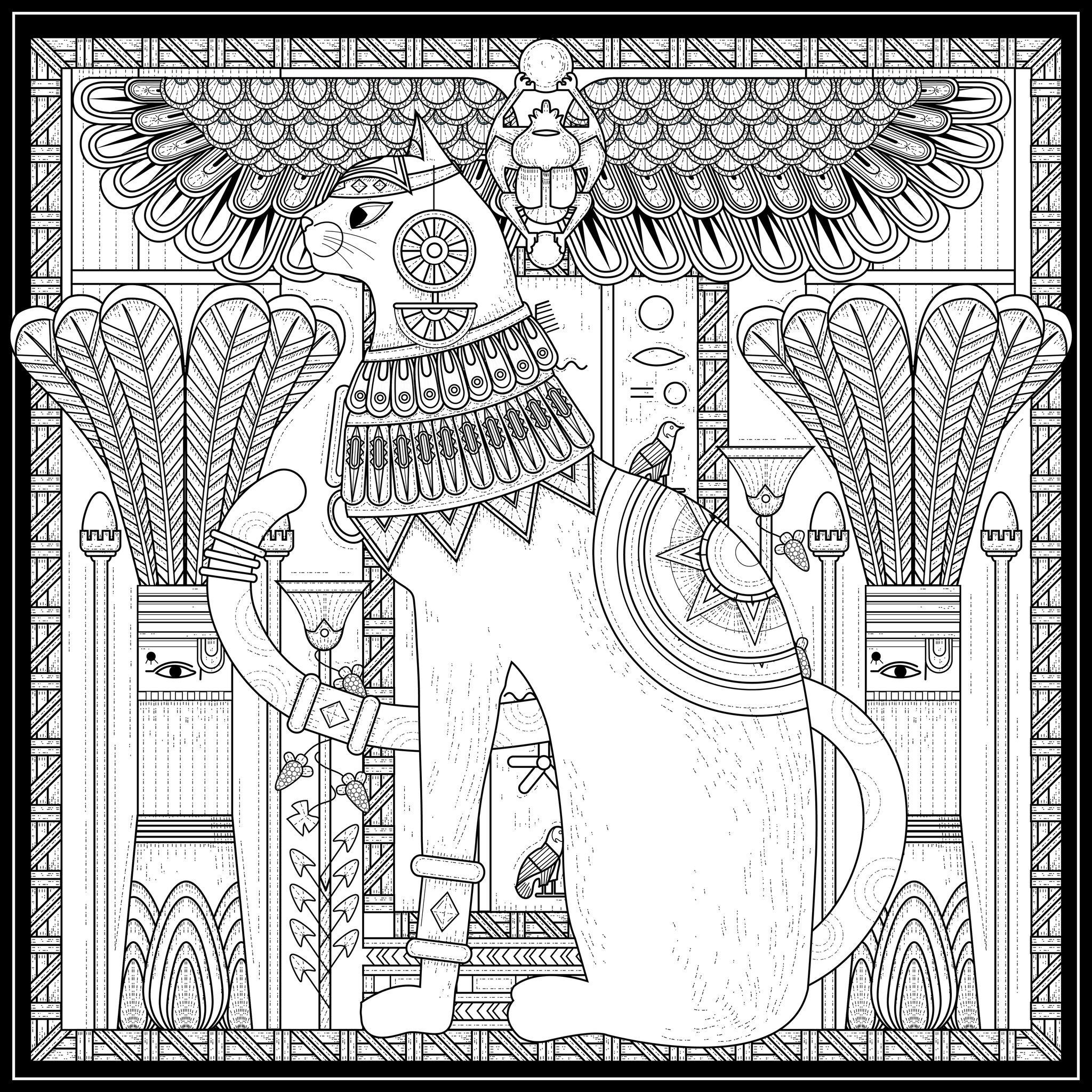 Free coloring page coloring-adult-egypt-cat-egyptian-style-and ...