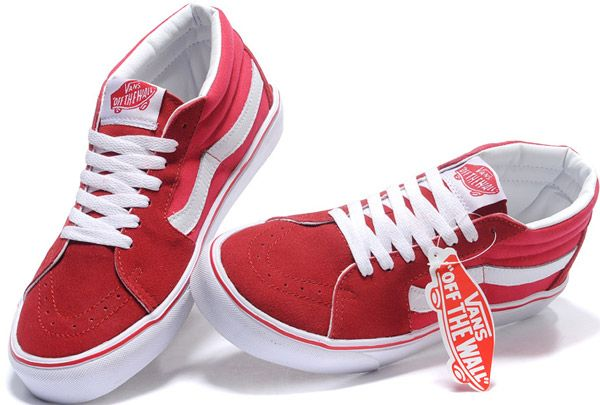 fdae5b8c9a Authentic Vans Off the Wall Old Skool Sk8 Hi Skateboard Mid Tops Red White  Suede Sneakers  BX14022304  -  39.99   Vans Shop