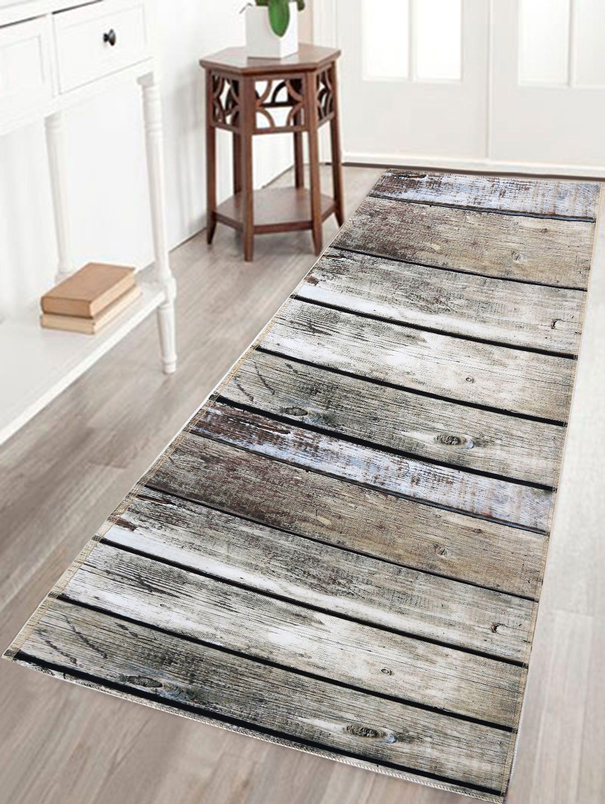 Antislip Water Absorption Bathroom Rug With Wood Grain Print - Printed bathroom rugs for bathroom decorating ideas