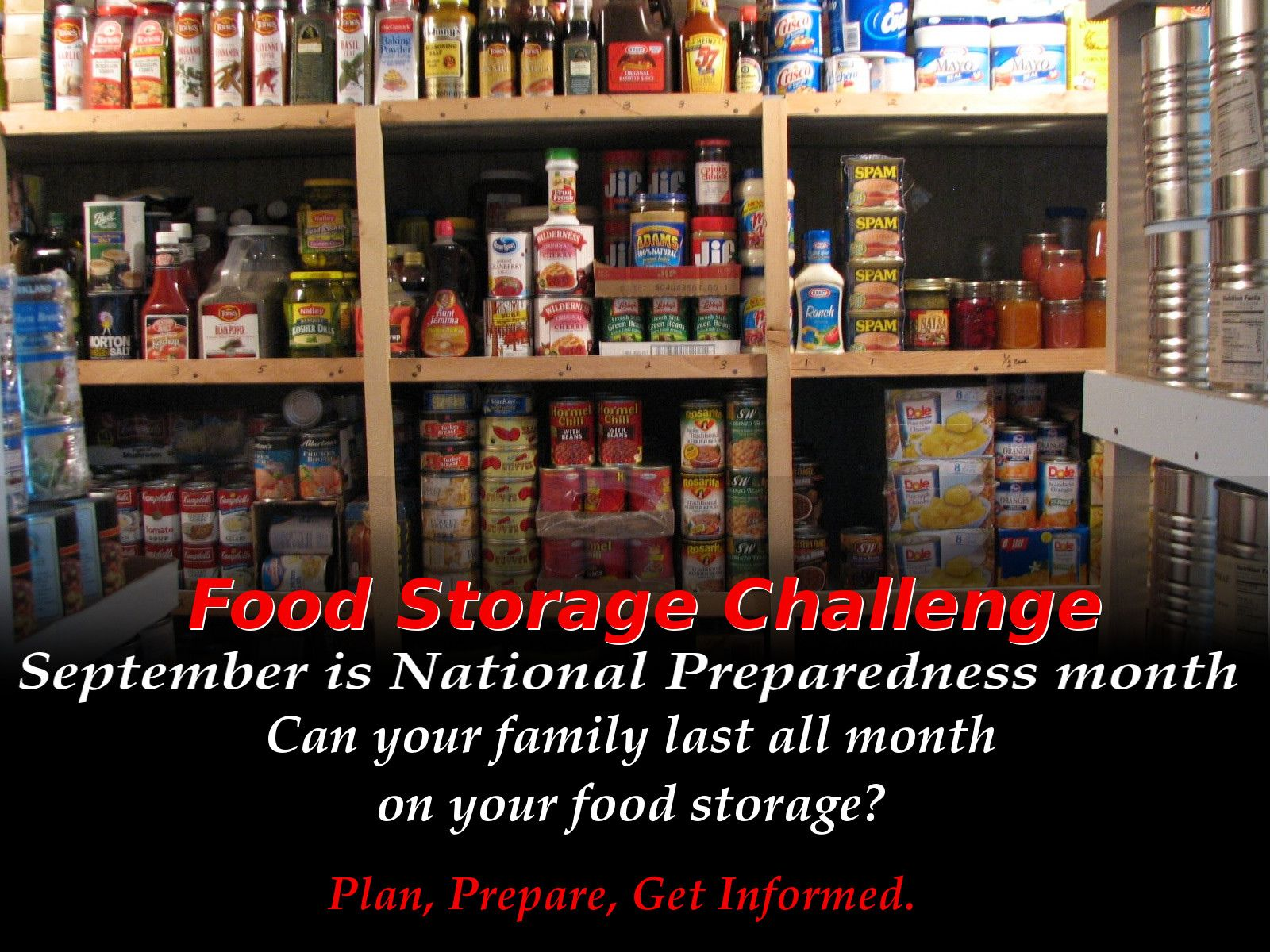 Poster for food storage challenge. Can you last a week, 2 weeks, 3 weeks, a whole month before needing to go to a store?