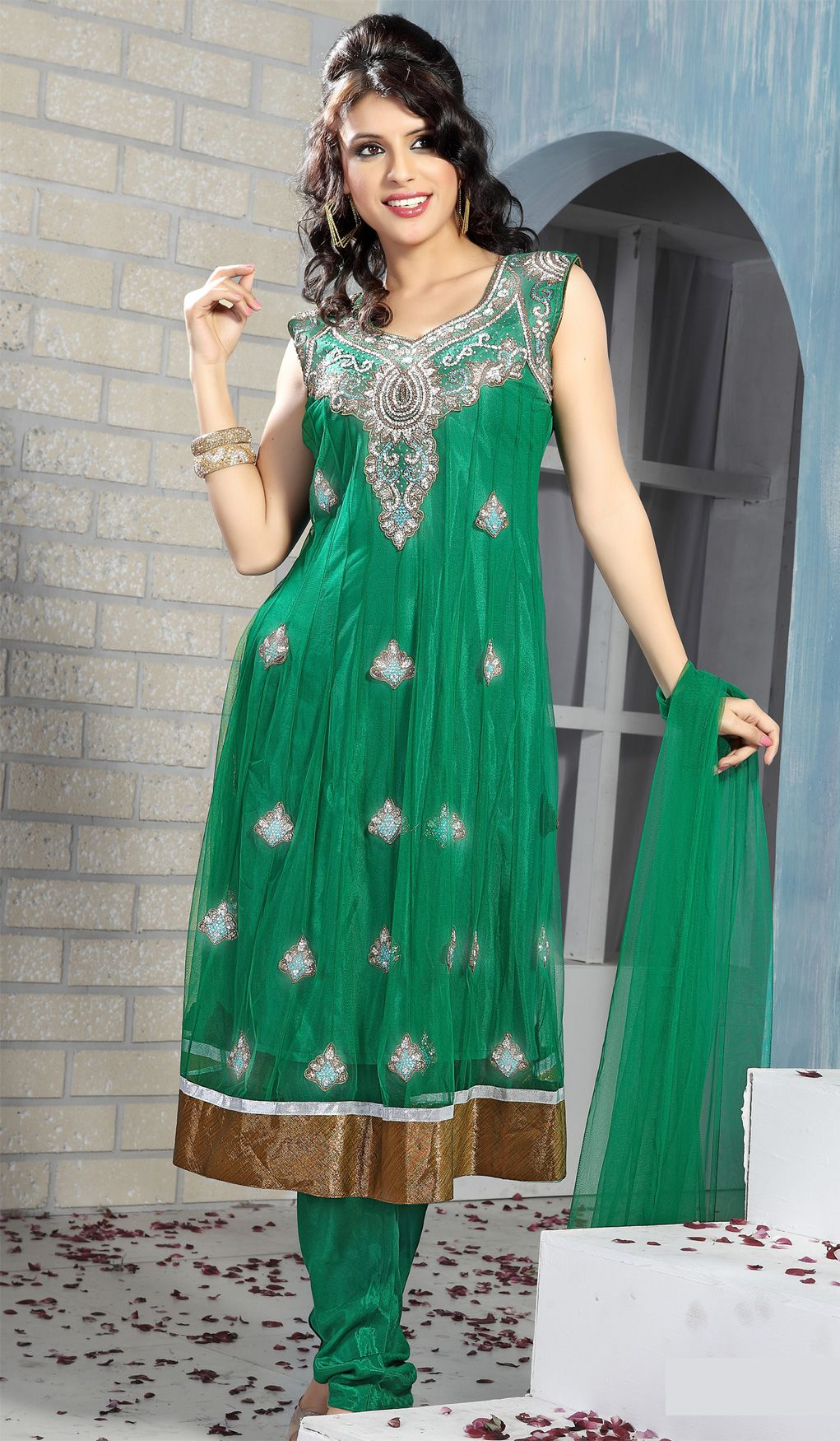 Jade Green Net Classic Indian Wedding Salwar Kameez | Churidar ...