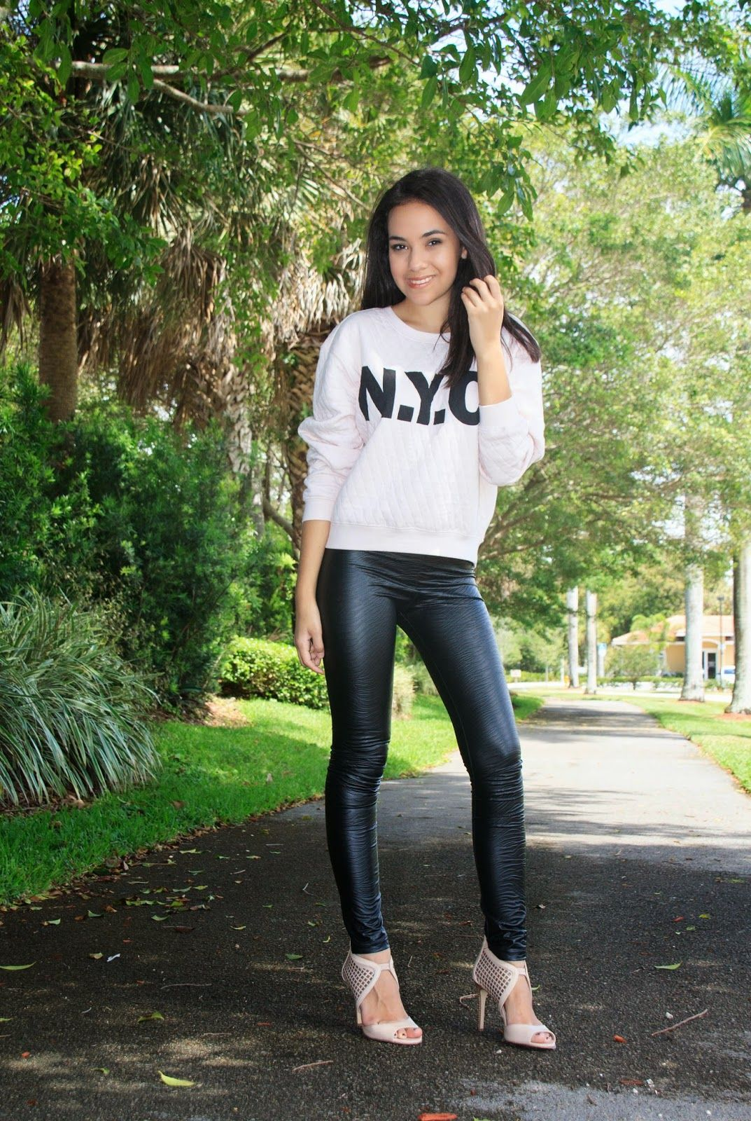 NYC sweatshirt. light pink sweatshirt and leather leggings ...