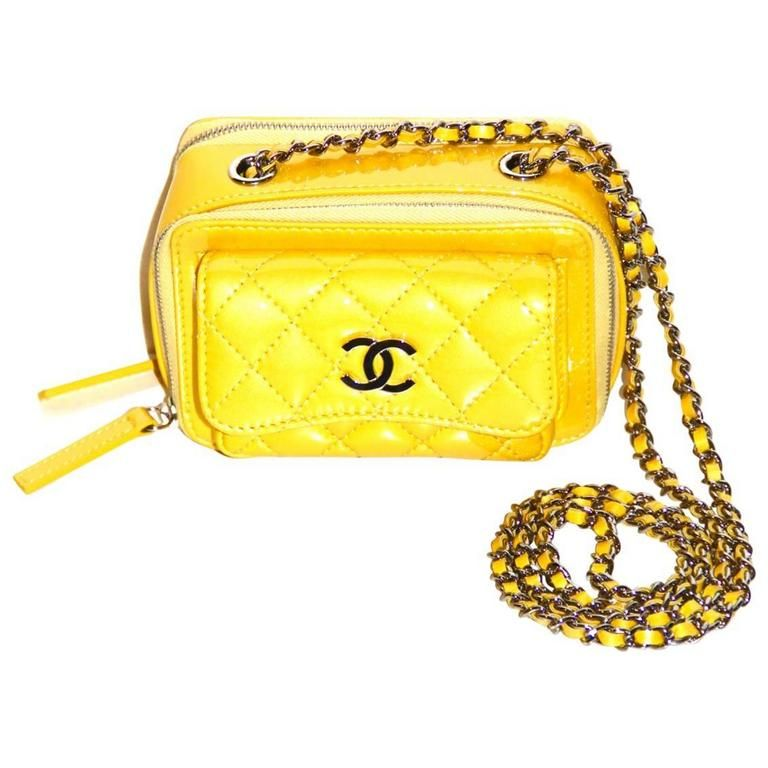 71703e95c49c Chanel Mini Pocket Box Bag Yellow Quilted Patent Leather | 1stdibs.com