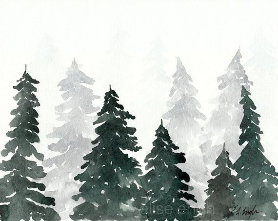 Watercolor Pine Trees ORIGINAL Painting