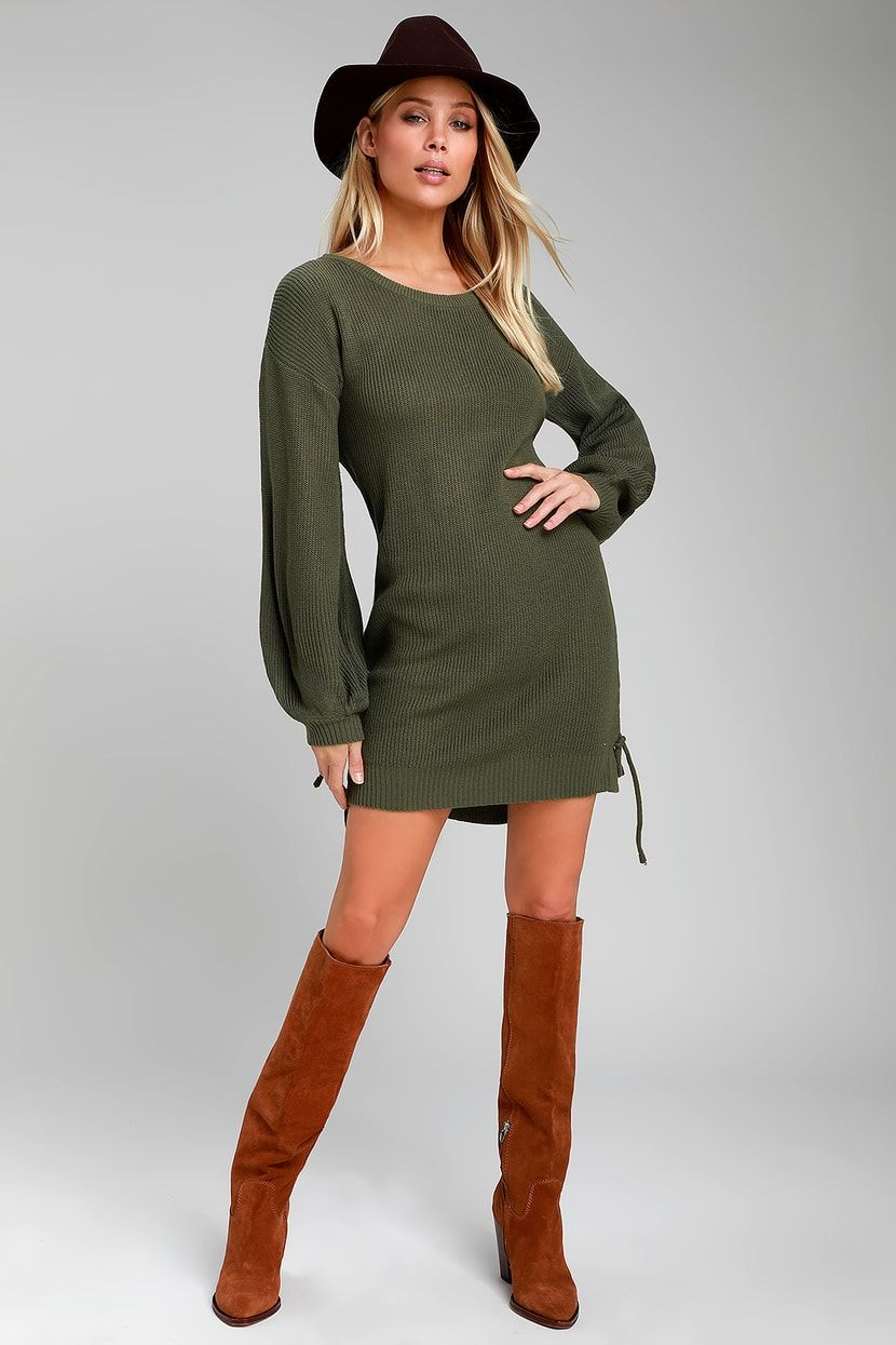 Lalianna Olive Green Balloon Sleeve Lace-Up Sweater Dress ... 80154a732