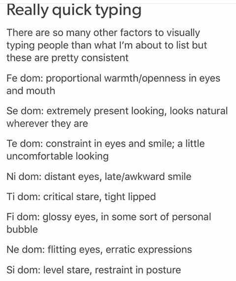 MBTI types and appearance