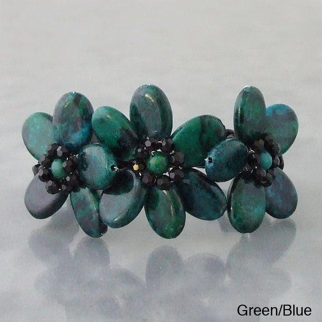 Green and Blue Malachite Allure Beaded Cuff Bracelet