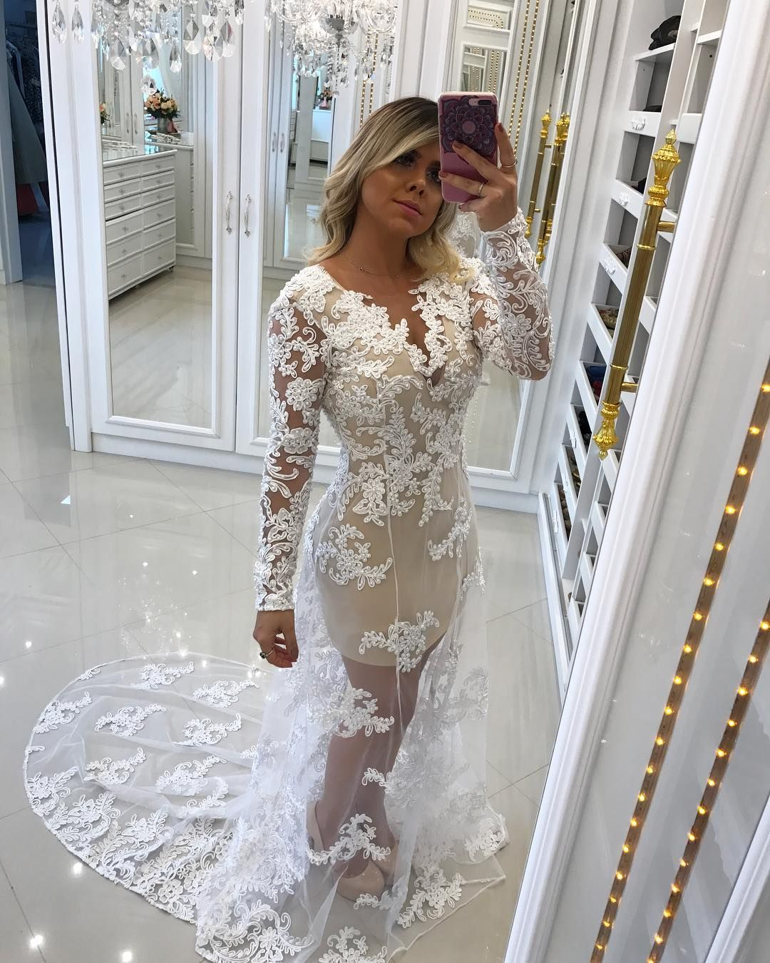 White tulle lace appliques prom dresses v neck long party dresses