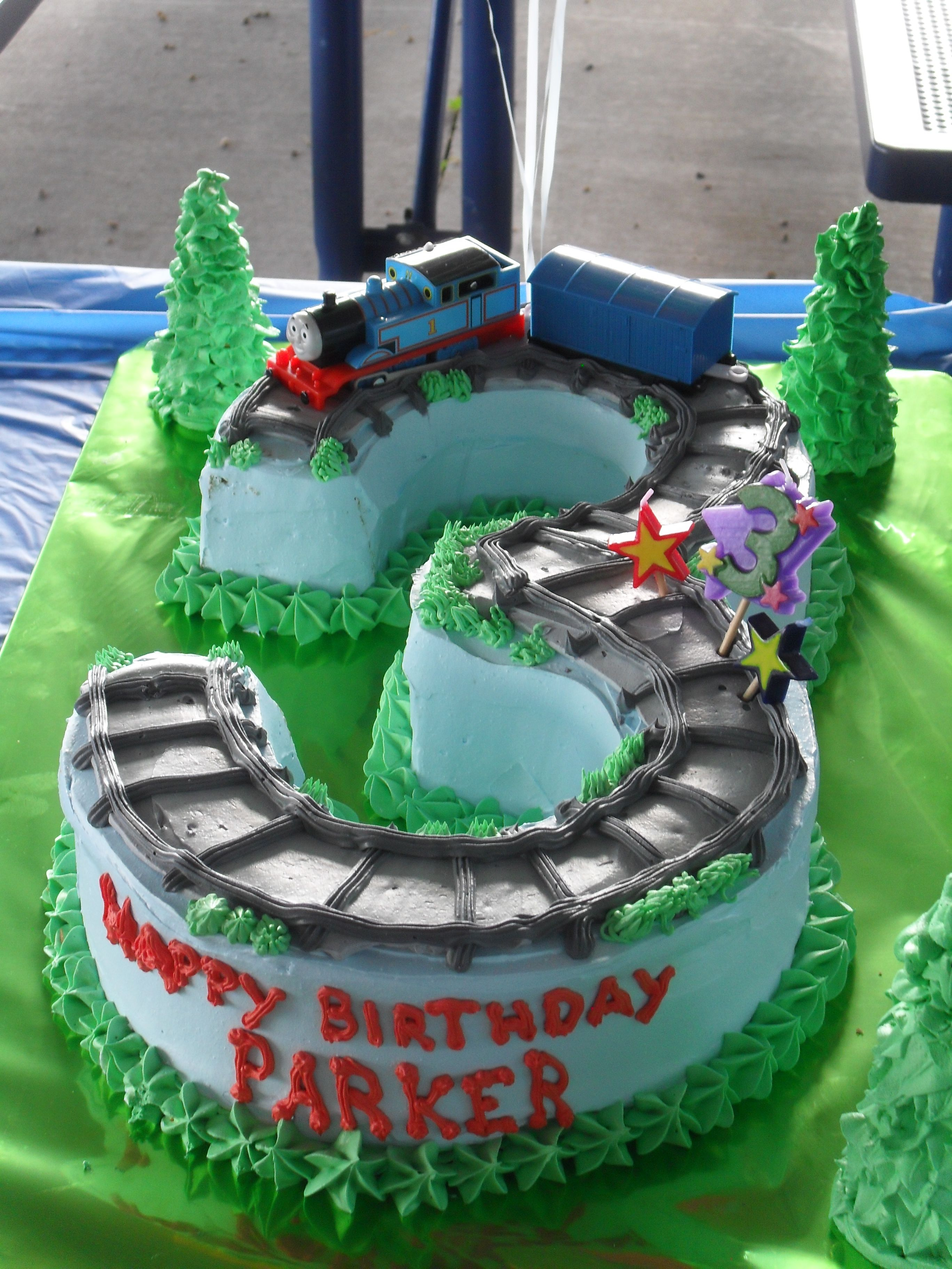 Peachy Parkers 3Rd Birthday Cake Thomas The Train With Images Train Personalised Birthday Cards Sponlily Jamesorg