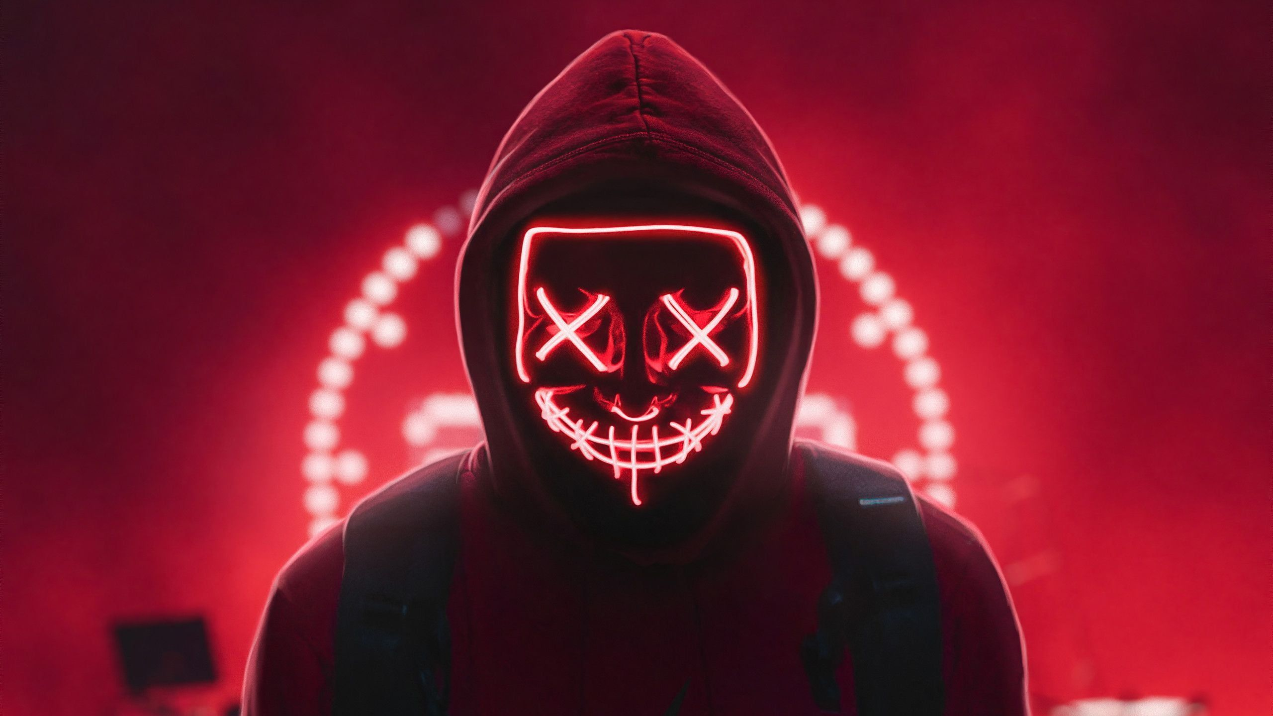 Red Neon Mask Digital Art Leds Red Neon Mask Creepy Eyes Creepy Photoshop Lights Faceless Hoods Artwor Creepy Eyes Marvel Wallpaper Hd Neon Wallpaper