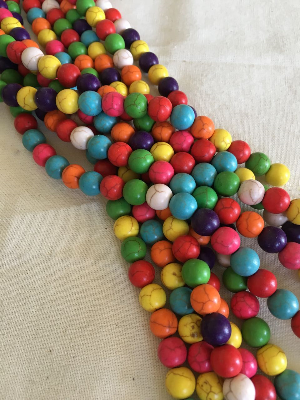 PA10- Multicolor Hilo de pasta de turquesa 10 mm hilo 39 piezas, precio Único $ 14 la tira .